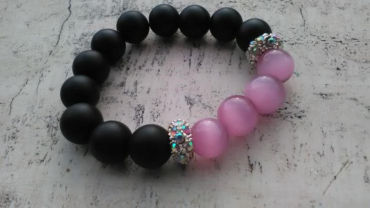 Bracciale con perle agata nera AAAA e occhi di gatto rosa di Aquilonicolorati su Etsy