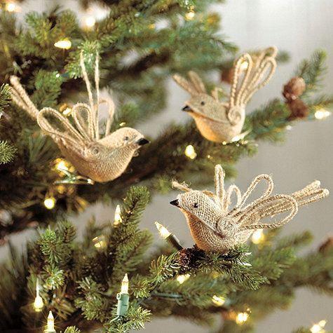 Burlap Bird Ornaments