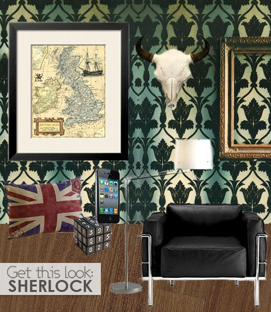 """Get The Look: BBC's Sherlock"" on Apartment Therapy // You can find THE wallpaper from this site... Like, holy fuck, I know how I'm redecorating my room. And whole house. And friends' houses."