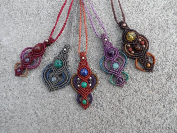 Various stones Macrame pendants stone sizes approx. by LaQuetzal