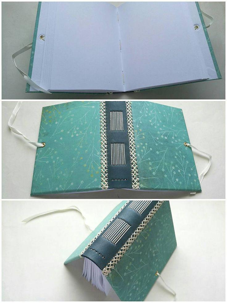 Zápisník A6 s koženým chrbtom - floral (tyrkys)
