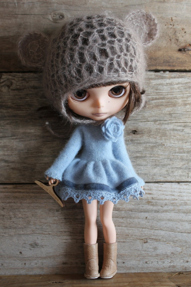 For Blythe. Sky  Blue Long Cashmere Cardigan/Dress with Lace and Velvet, plus socks.