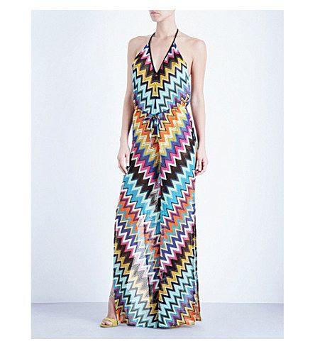 MISSONI Zigzag Knitted Maxi Jumpsuit. #missoni #cloth #swimwear & beachwear