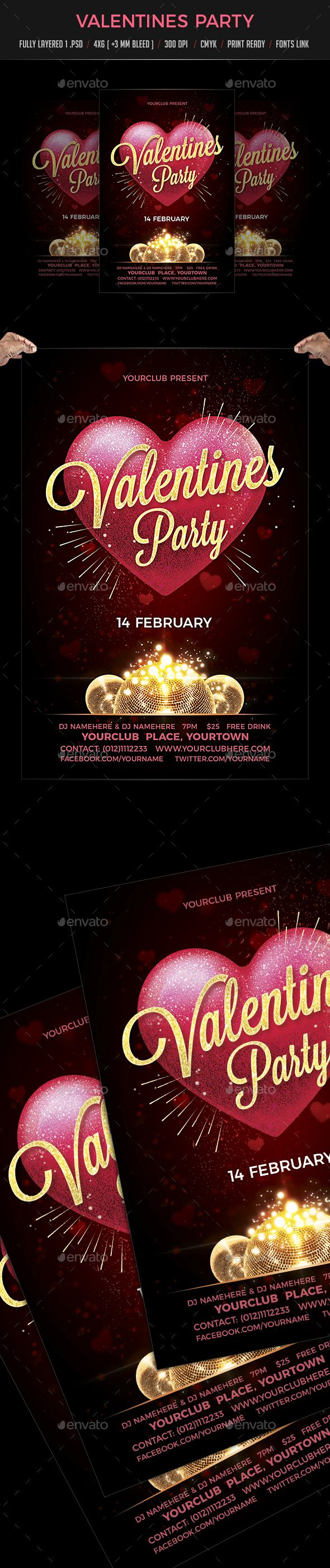 Valentine Day Party Flyer Template PSD #vday #design