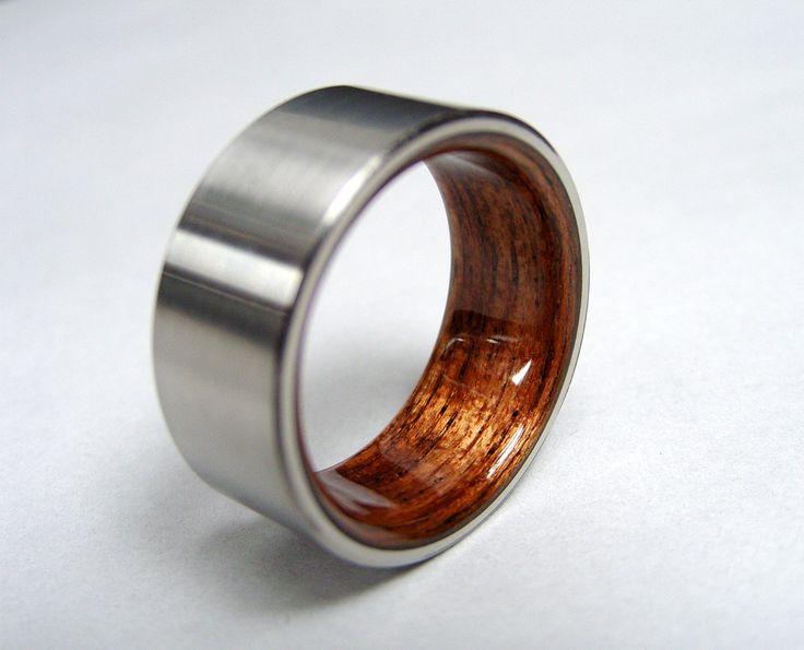 Bent Wood and Titanium Wedding Ring -- Rosewood Interior with Satin finished Titanium Exterior: Finish Titanium, Titanium Rings, Satin Finish, Titanium Exterior, Titanium Wedding Rings, Bent Wood, Rosewood Interiors, Bent Rosewood, Woods