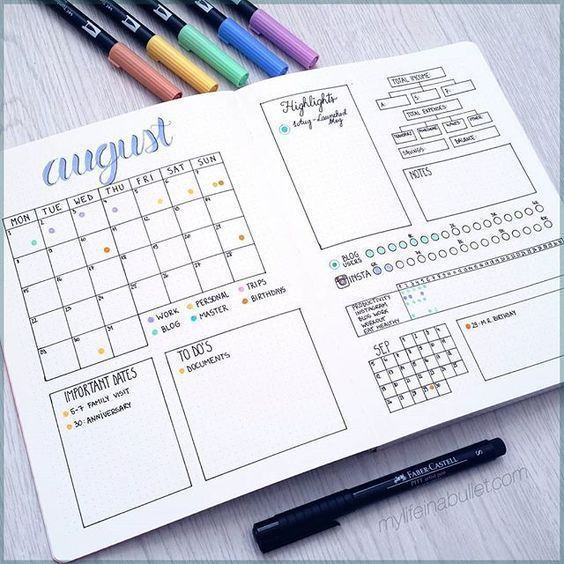 Calendario mensual bujo - Monthly log Bullet Journal.
