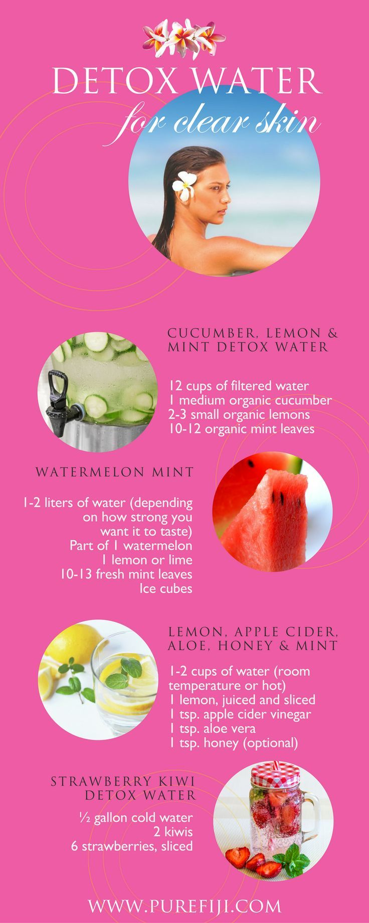 Beauty Hacks | Quick and easy to make! Detox water is the perfect way to get all the necessary nutrients required for clear, glowing skin. Get homemade DIY beauty  recipes http://www.purefiji.com/blog/drink-clear-glowing-skin/ | Clear Skin Care Tips