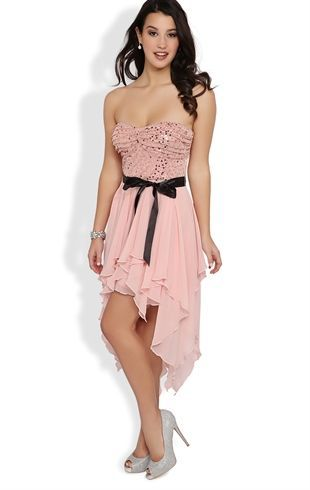 Deb Shops Strapless Two Tone Short #Prom #Dress with Hanky Hem Skirt $72.90