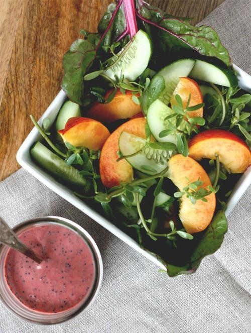 Peach salad, berry dressing