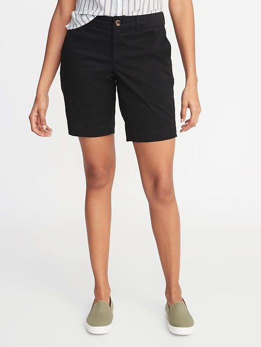 1a16ee167d Old Navy Women's Mid-Rise Twill Everyday Bermuda Shorts - 9-Inch Inseam  Black Size 14