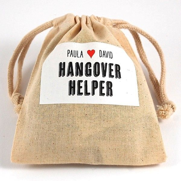 Gifts for the Good Life - Drawstring Muslin Pouch Hangover Helper Kit   Heart Design