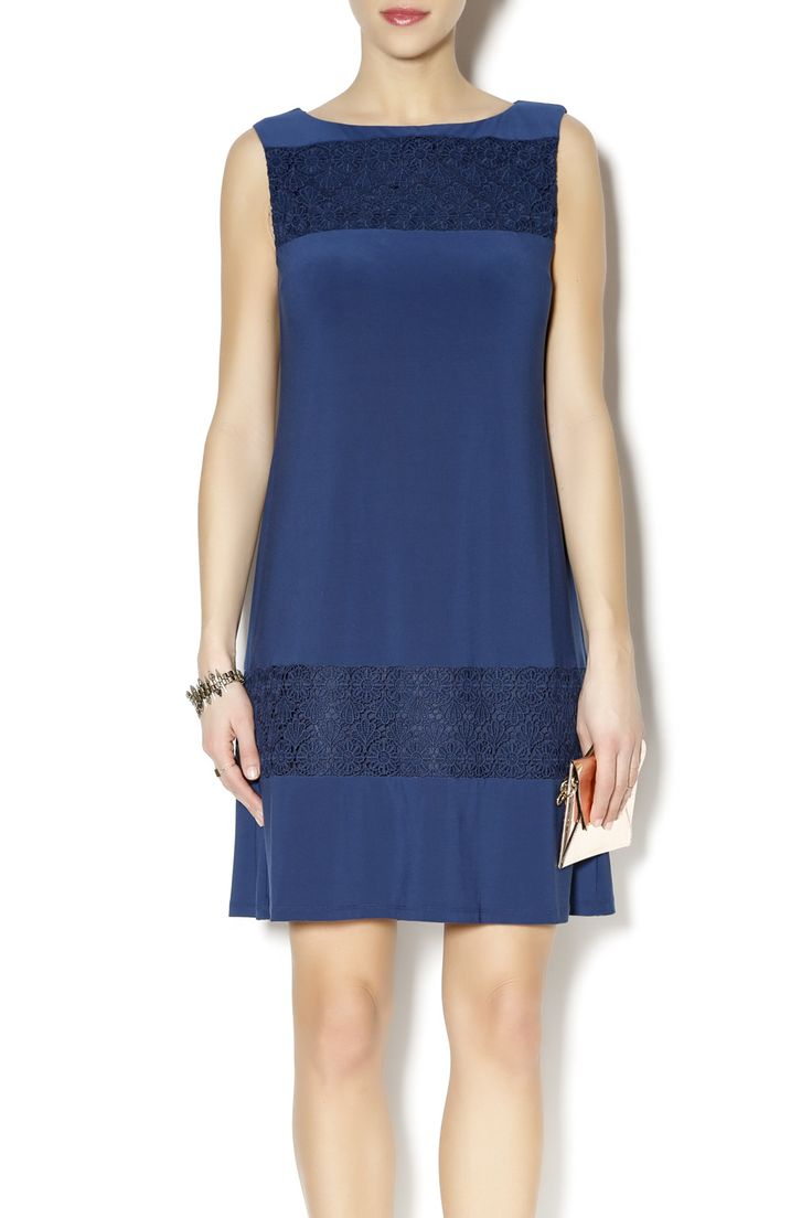 Sophisticated dress is sleeveless with navy crochet insets across the chest and hem line. Wear to outside summer weddings or dinner dates.    Sophisticated Dress by Missy Robertson. Clothing - Dresses - Wedding Wear Florida