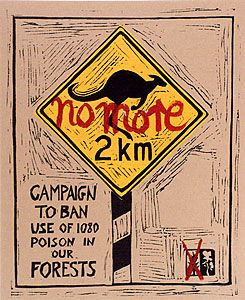 JOHN WOLSELEY, Campaign to ban use of 1080 poison in our forests, 1997. Lino print