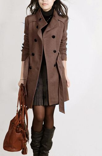 Double Breasted Stand Collar Belt Slim Long Plus Size Coat - May Your Fashion - ... 1