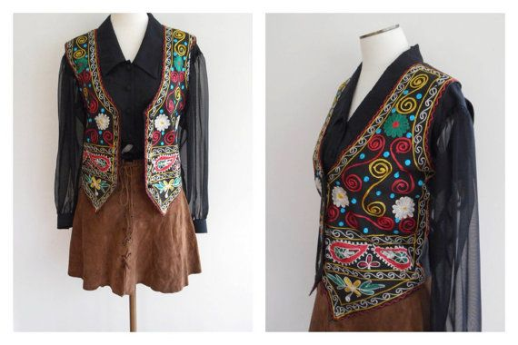 Vintage 90s EMBROIDERED Vest // ETHNIC Boho by MezzyMayVintage