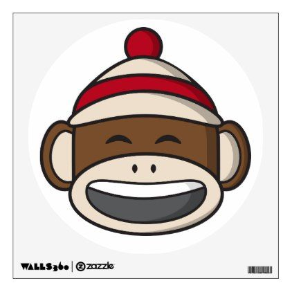 Big Smile Sock Monkey Emoji Wall Sticker - drawing sketch design graphic draw personalize