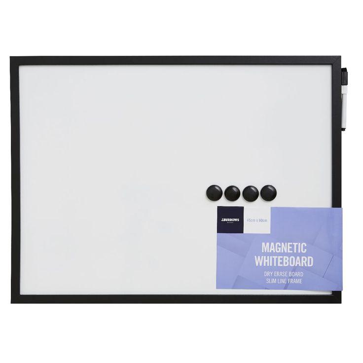 J.Burrows Magnetic Black Frame Whiteboard 45 x 60cm