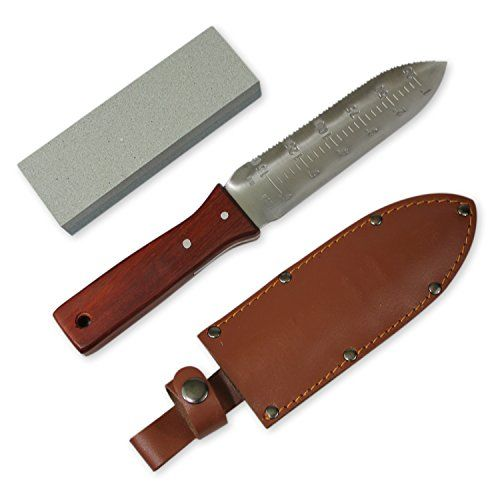 Greentisory Hori Hori Knife with Leather Sheath and Large Whetstone-Best Digging Tool in Garden Knives * You can get additional details at the image link.