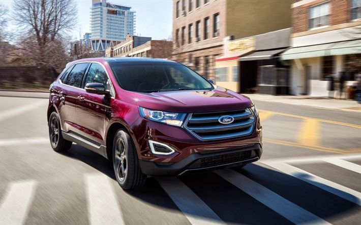 Download wallpapers Ford Edge, 2018, 4k, red new Edge, SUV, new cars, American cars, Ford