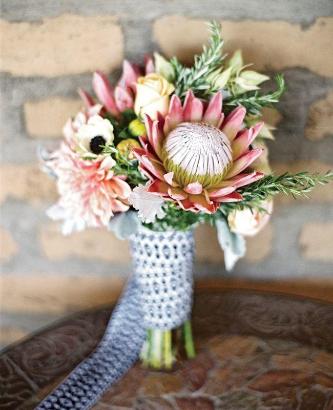 Bouquet - protea, anemone, rosemary, blushing bride, garden roses & dahlia / flowers by Renae's Bouquet / photo Braedon Flynn / EagleEggCreative.com