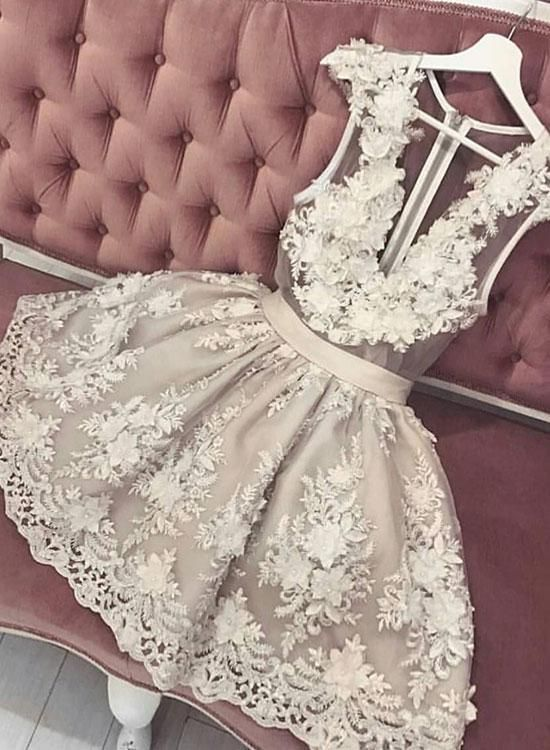 7099cb18c3 Cute lace v neck short prom dress