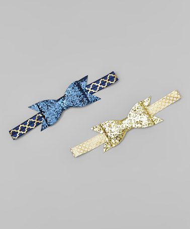 Another great find on #zulily! Gold & Navy Glitter Bow Headband - Set of Two #zulilyfinds