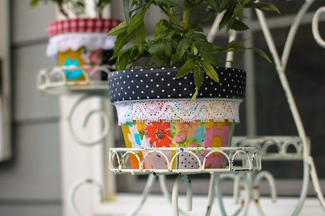 a bit of sunshine:  patchwork pots