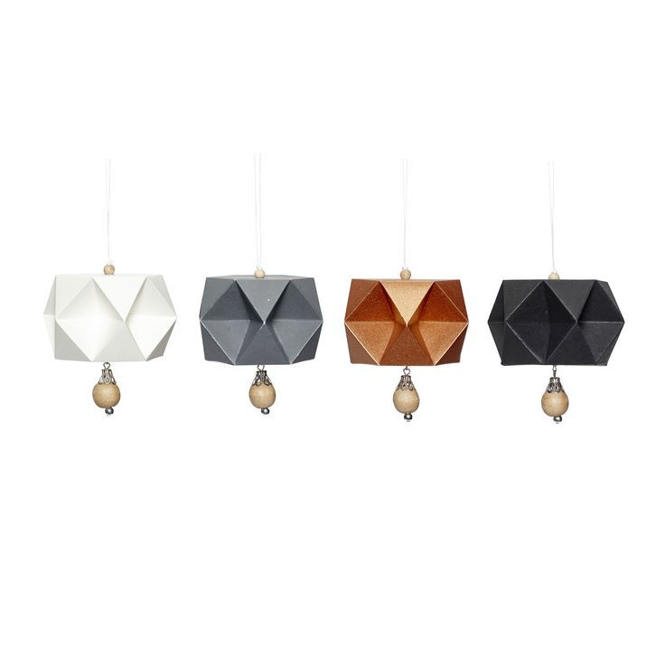 Handfolded paper Christmas balls in a set of 4. Product number: 430106 - Designed by Hübsch