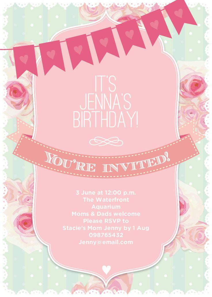 Invitation French Country Shabby Chic Roses and Bunting Birthday / Bridal Shower / Baby Shower Invitation - Printable Designs DIY. $15.00, via Etsy.