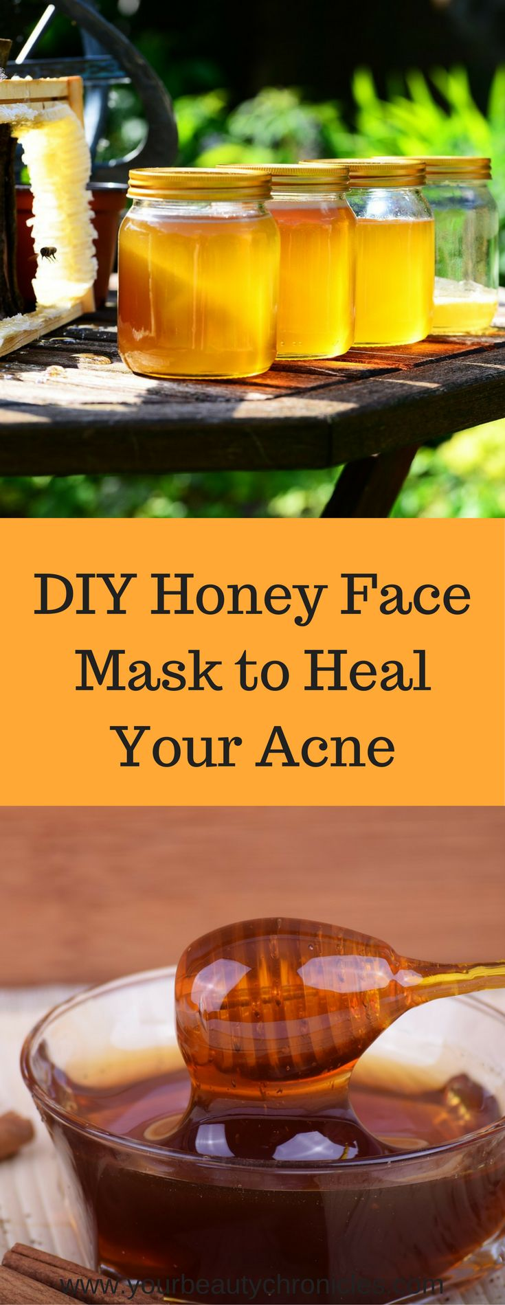 This mask made with honey helps heal your acne and calm down inflamed and irritated skin and bring down the redness on your face.