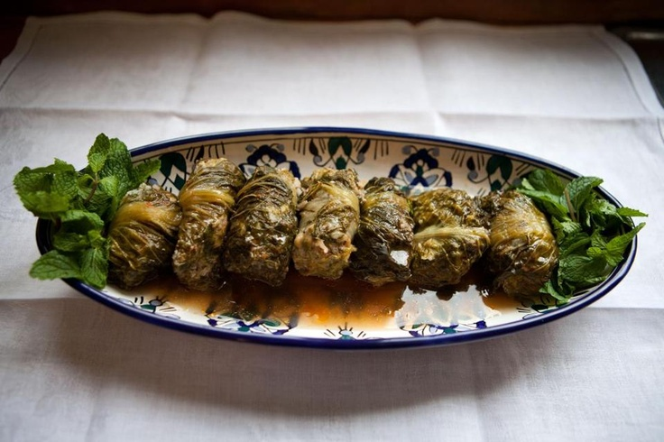 Recipe for Yabrak (stuffed romaine leaves simmered in tomato broth)