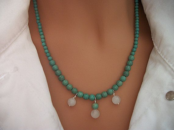 $38 Green Turquoise and White Quartz Stone Necklace With matching earrings!  by DUNEGLASS