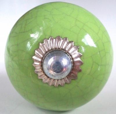 bouton de meuble Vintage Ceramic green Crackled Knob,