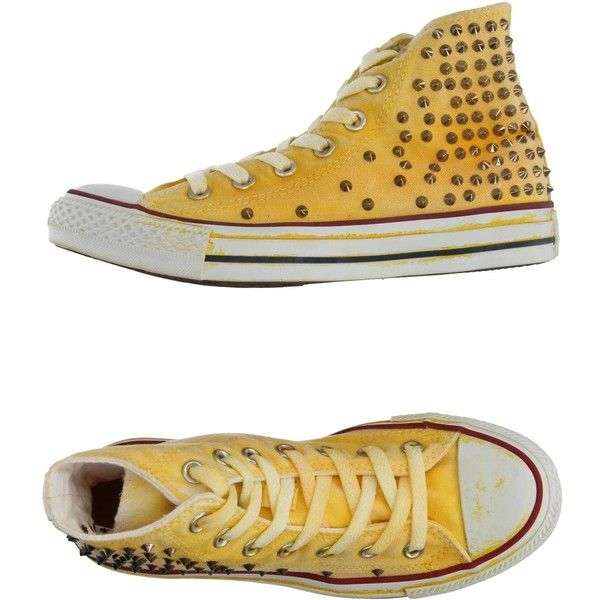Converse Sneakers ($92) ❤ liked on Polyvore featuring shoes, sneakers, light yellow, round toe shoes, studded flat shoes, studded sneakers, converse sneakers and converse footwear