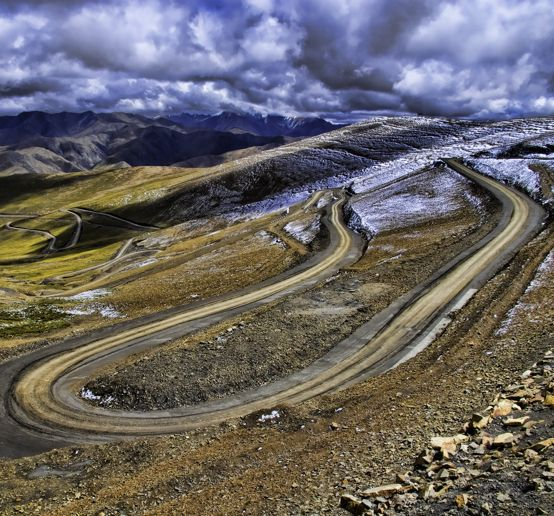 The road leading from the Tibetan town of Tingri  up to the base camp on the north side of Mt Everest.