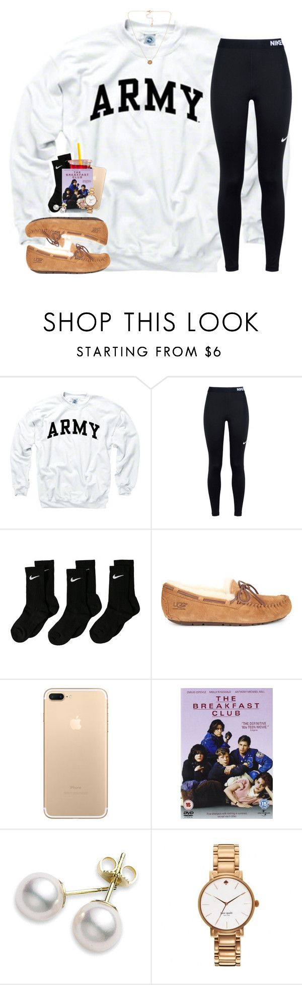 """I'm ready for the weekend!"" by sassysouthernprep99 ❤ liked on Polyvore featuring NIKE, UGG, Mikimoto, Kate Spade and Pieces"