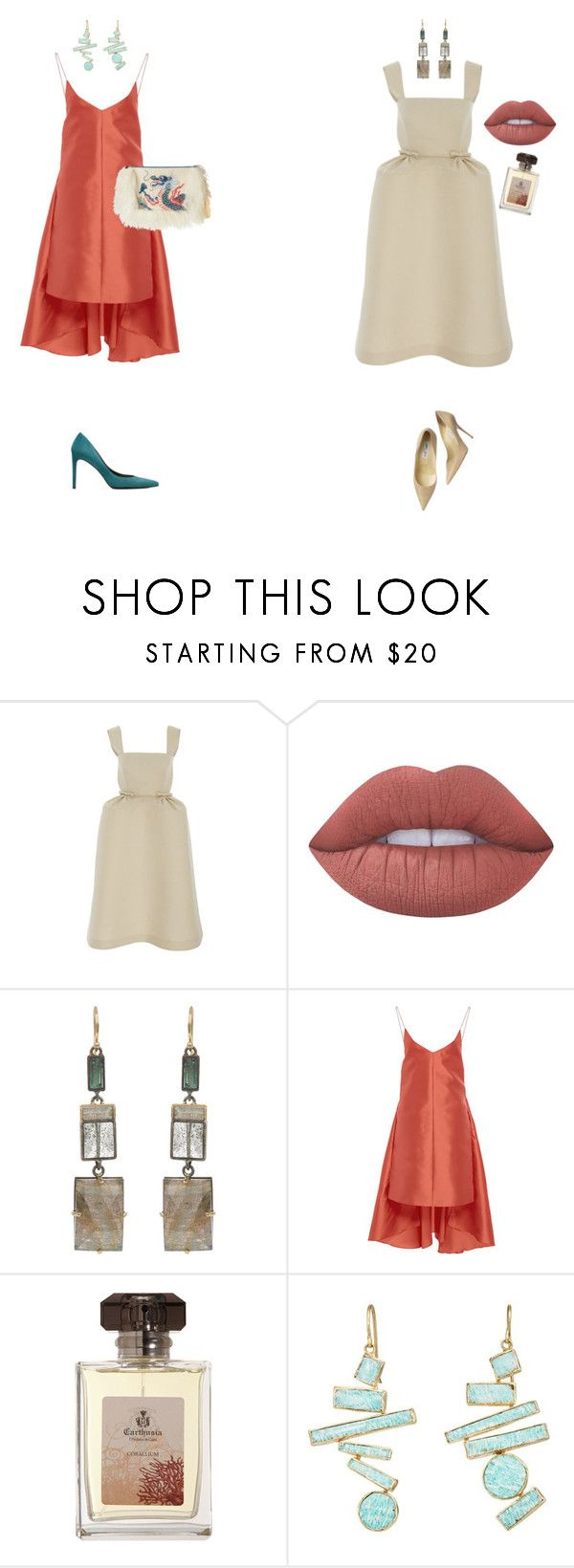 """New Years Eve Outfits 2"" by palina-parker ❤ liked on Polyvore featuring Delpozo, Lime Crime, Nak Armstrong, Maria Lucia Hohan, Carthusia, Judy Geib, Jimmy Choo and Stuart Weitzman"