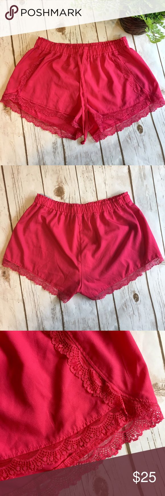 "Pink Aerie Lounge Shorts Pink, Aerie lounge shorts with lace accents. Interior tag shows ""XA, 100% polyester"" Waist has an elastic waistband. Waist measurement approximately: 24 inches to 36 inches when stretched. Aerie Shorts"