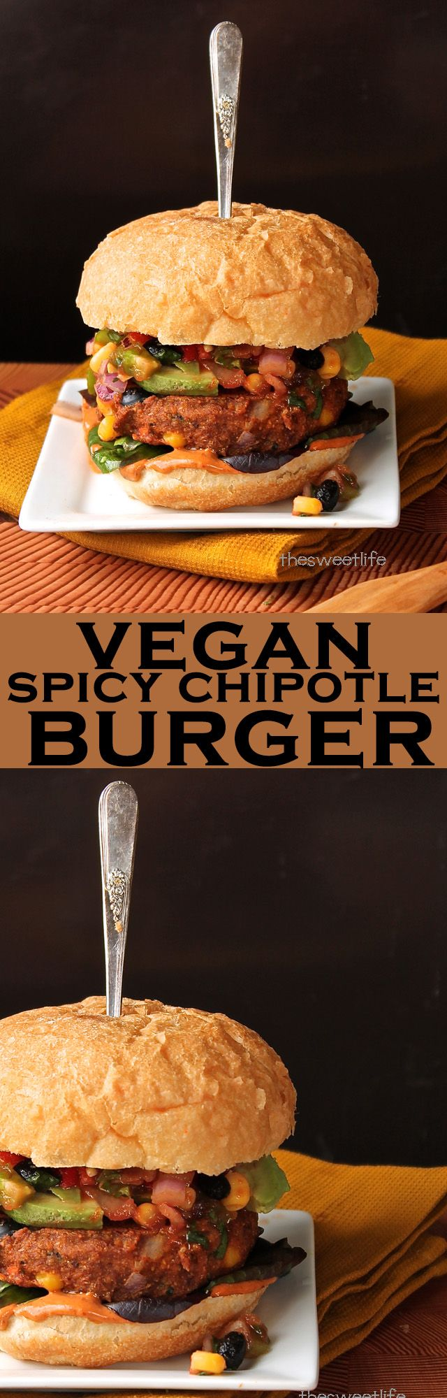 Bite into this incredible vegan Spicy Chipotle Burger with pico de gallo and special sauce. Click the photo for the full recipe!