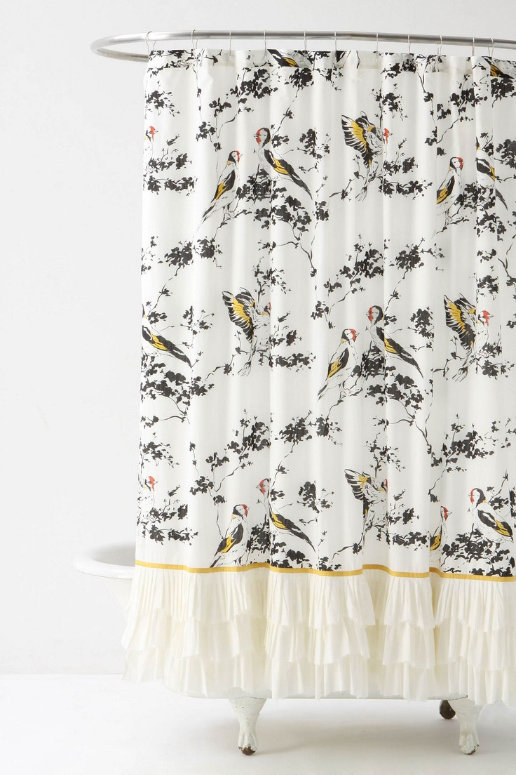 pretty black white and yellow shower curtain with a hint of red from anthropologie home. Black Bedroom Furniture Sets. Home Design Ideas