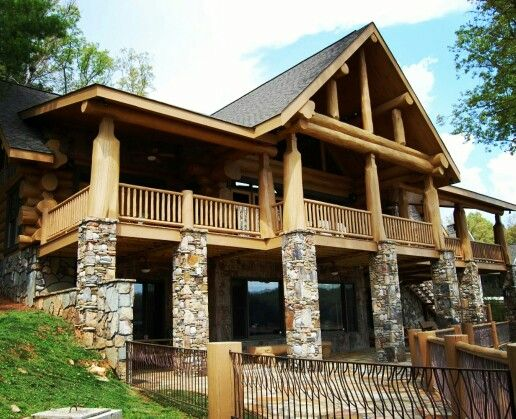 10 best images about log homes on pinterest lakes sweet for Log home decks