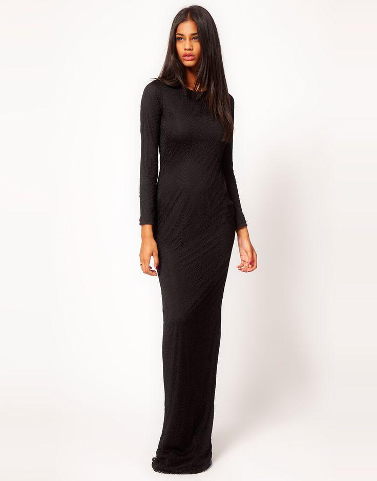 Zwarte lange kanten maxi jurk (dress) met lange mouwen