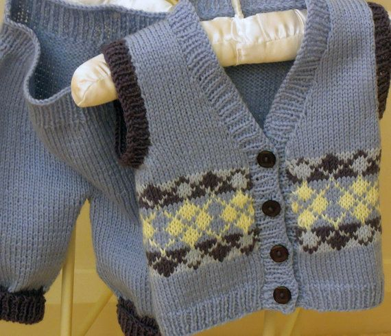 PDF knitting pattern  This sweet little Argyle vest and pants set is very quick to knit  - $3.95