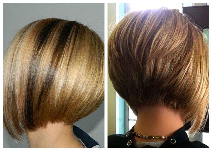Стрижка боб на короткие волосы, вид сбоку и сзади, фото
