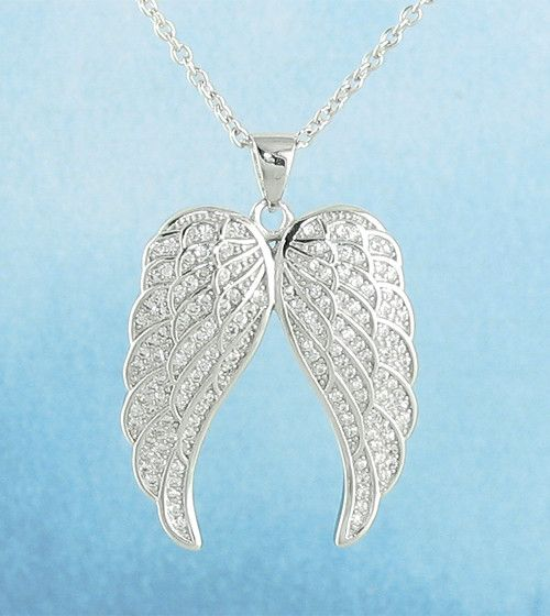 This dramatic angel wings pendant features three tiers of feathers encrusted with tiny crystals. Wings are gently rounded and curved, for a beautiful and natural look. - Material: Solid sterling silve
