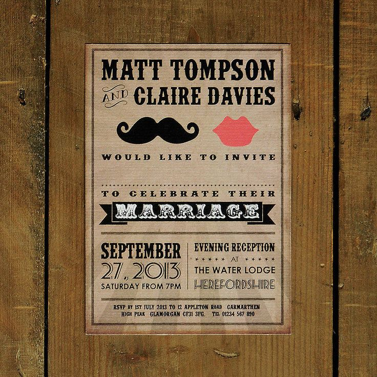 moustache and lips wedding invitation by feel good wedding invitations | notonthehighstreet.com