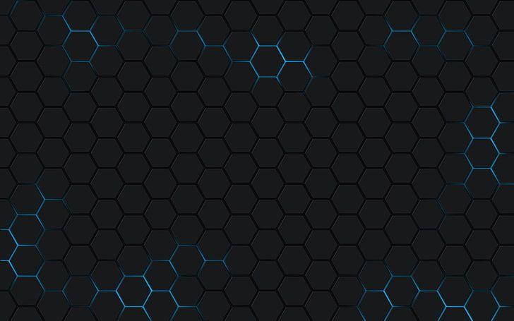 Black Honeycomb Wallpaper Minimalism Hexagon Backgrounds Pattern Hd Wallpaper Honeycomb Wallpaper Hexagon Hexagon Background Blue and black hexagon wallpaper
