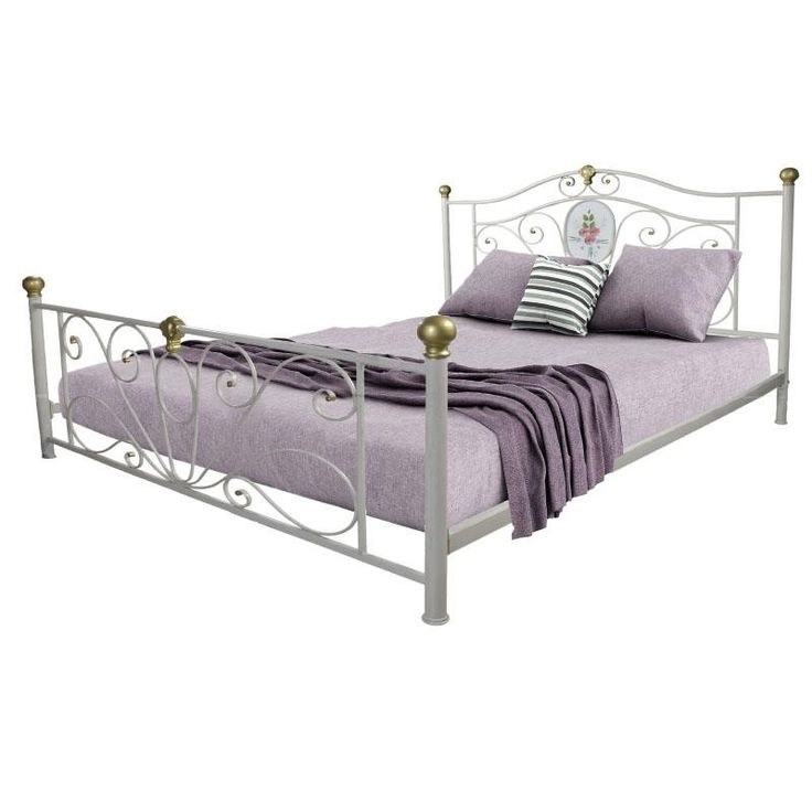 IRON DOUBLE BED IN WHITE 176Χ212Χ130/(160X200) - Beds - FURNITURE - inart