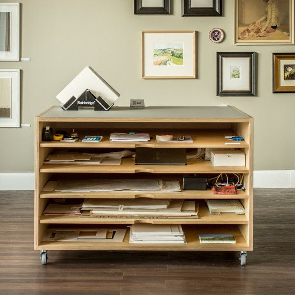 Combination of plywood and desk top lino makes for a hardwearing and functional plan chest. Lockable castors are perfect for making a working space more usable.