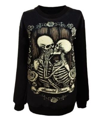 This gothic sweater just looks sick! $17.80 http://wickedgothicclothes.blogspot.ca/2014/08/gothic-skeleton-sweater-for-women.html #goth #gothic #sweater #death